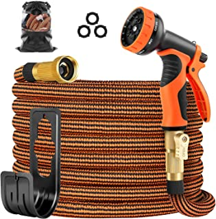 OUTZEST 50ft Expandable Garden Hose, Leakproof Lightweight Water Hose with 9 Functions Sprayer and Super Durable 3750D Fab...