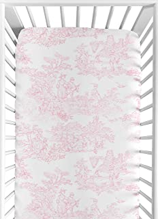 Sweet Jojo Designs Pink French Toile Fitted Crib Sheet for Baby and Toddler Bedding Sets - Toile Print