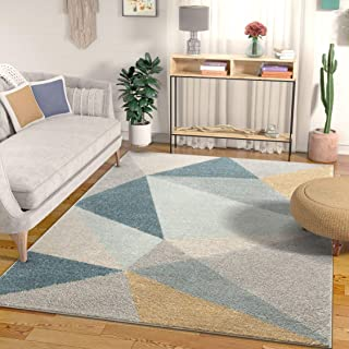Well Woven Easton Modern Abstract Geometric Triangles Blue, Gold & Grey Area Rug 5x7 (5'3