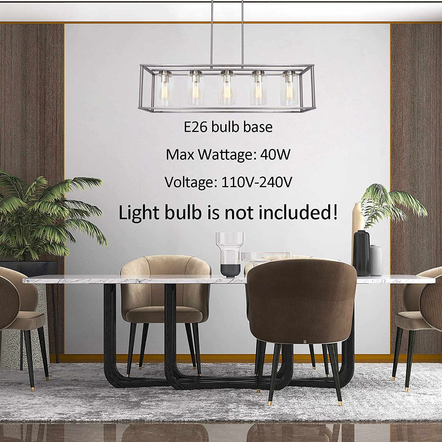 Fixtures Hanging FIMITECH Chandeliers Contemporary Rectangle 5-Light Dining Room Lighting Black Adjustable Rods Ceiling Light Kitchen Island Cage Pendant Lights with Glass Shade