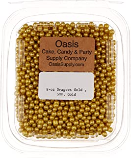 Bakers EZ Way 8-Ounce Dragees Gold Sugar Cake Cupcake Cookie Sprinkles, 5mm, Gold