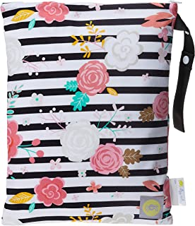 "Itzy Ritzy Sealed Wet Bag with Adjustable Handle – Washable and Reusable Wet Bag with Water Resistant Lining Ideal for Swimwear, Diapers, Gym Clothes & Toiletries; Measures 11"" x 14"", Floral Stripe"