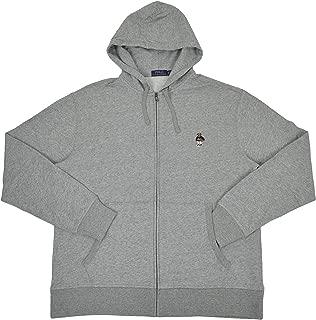 Men's Big & Tall USA Basketball Polo Bear Full Zip Fleece Hoodie Sweater Grey