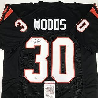 Autographed/Signed Ickey Woods Cincinnati Black Football Jersey JSA COA