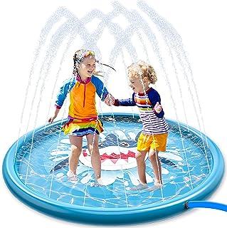 Joyin rociador para niños, 68 pulgadas con rociador de tiburón y salpicaduras para niños pequeños al aire libre juguete Splash Pad