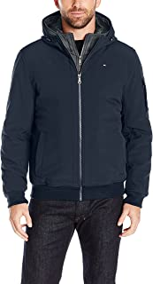 Men's Soft Shell Fashion Bomber with Contrast Bib and Hood