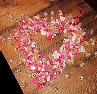 Heart Rag Wreath, Valentine's Primitive Burlap & Jersey Door Decor