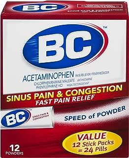 BC Powder | Sinus & Congestion | Acetaminophen | 12 Count | 3 Pack