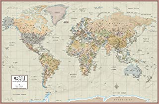 """Swiftmaps 24"""" x 36"""" World Map Contemporary Premier Wall Map Poster Mural, Laminated, Made in the USA"""