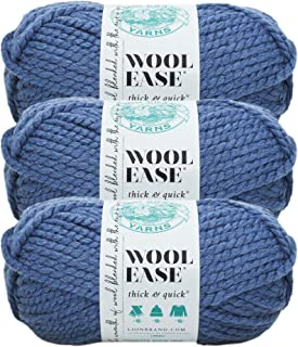 (3 Pack) Lion Brand Yarn 640-114B Wool-Ease Thick and Quick Yarn, 97 Meters, Denim