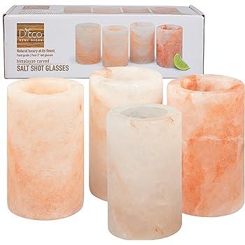 """Himalayan Salt Shot Glasses, Set of 4 All-Natural FDA Approved 3"""" Pink Salt Glasses -Tequila Shot Glasses"""