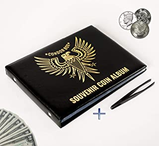 4in1 Coin Holder Album 180 Pockets - Paper Money Collection 10 Pockets - Large Storage Book for Collectors - Gold Silver Dollars Dollar Bill Currency Quarters Penny Foreign Coins - Black & Tweezers