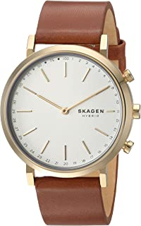 Skagen Hald Brown Leather & Stainless Steel Hybrid Smartwatch SKT1206
