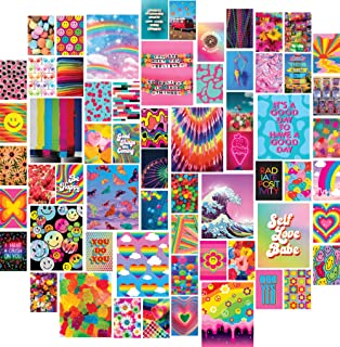 Artivo Indie Wall Collage Kit Aesthetic Pictures 50 Set 4x6, 12 Set 8x10, Colorful Kidcore Wall Decor for Teen Girls, Coll...