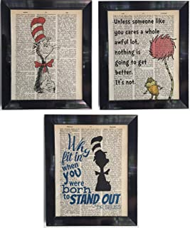 Dr. Seuss Set of 3 Dictionary Page Artwork Prints Picture Poster Home Office Bedroom Nursery Kitchen Wall Decor - unframed