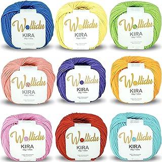 Wollidu Kira Lot de 9 pelotes de fil à tricoter et à crochet 100 % coton Multicolore