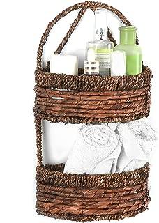 MyGift 2-Tier Handwoven Brown Seagrass Half Circle Decorative Storage Basket