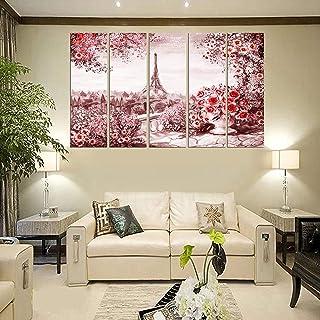 PARI ARTS Multiple Frame,Beautiful Multiple Pink Paris Couple Art Sparkle Print Art Wall Painting for Living Room,Bedroom,...