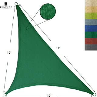 LyShade 12' x 12' x 17' Right Triangle Sun Shade Sail Canopy (Dark Green) - UV Block for Patio and Outdoor