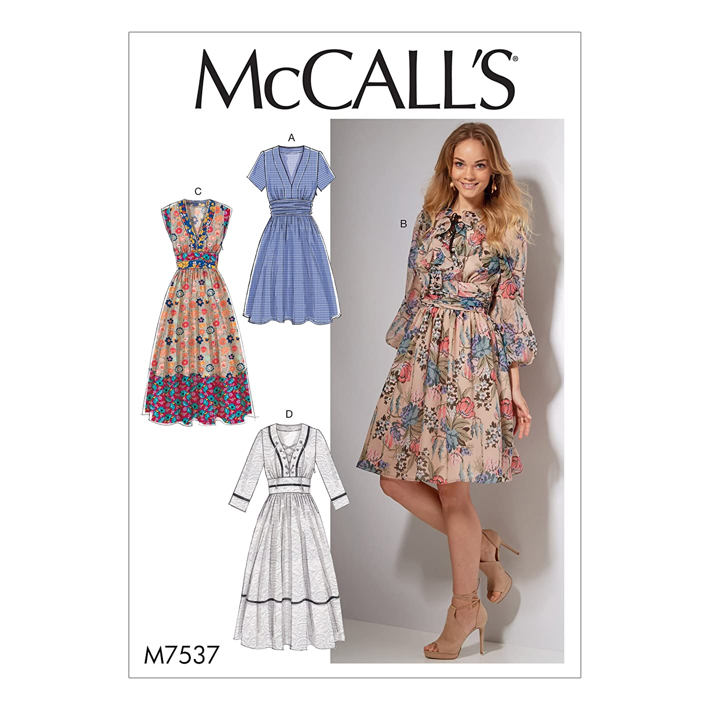 McCall Patterns M7537A50 Banded, Gathered-Waist Dresses Sewing Pattern