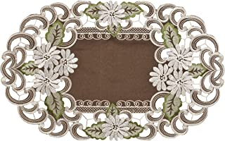 Place Mat or Doily Embroidered with a White Daisy on Brown Burlap Linen Fabric, Size 10.5 x 16.5