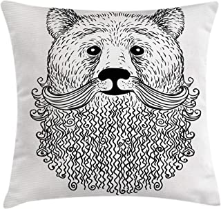 Ambesonne Indie Throw Pillow Cushion Cover, Doodle Style Sketch Bear Portrait with Curly Beard and Mustache Cool Animal, Decorative Square Accent Pillow Case, 20