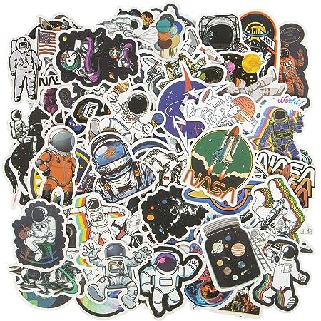 Hywean 100 Stück Nasa Decal Aufkleber Wasserdicht Graffiti Decal Vinyl Aufkleber Für Koffer Wand Skateboard Auto Motorrad Macbook Wand Vsco Mädchen Jungen Spielzeug