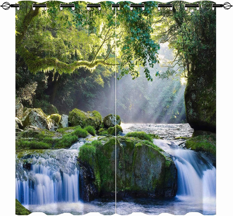 latest Phoenix Mall ANHOPE Waterfall Blackout Curtains Wild Scene Nature Scen Theme