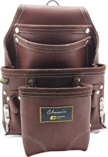 Leather Gold Leather Tool Pouch | Carpenters Tool Pouch 3350, Brown, Oil-Tanned, 10 Pockets, 2 Hammer Holders, Reinforced Seams