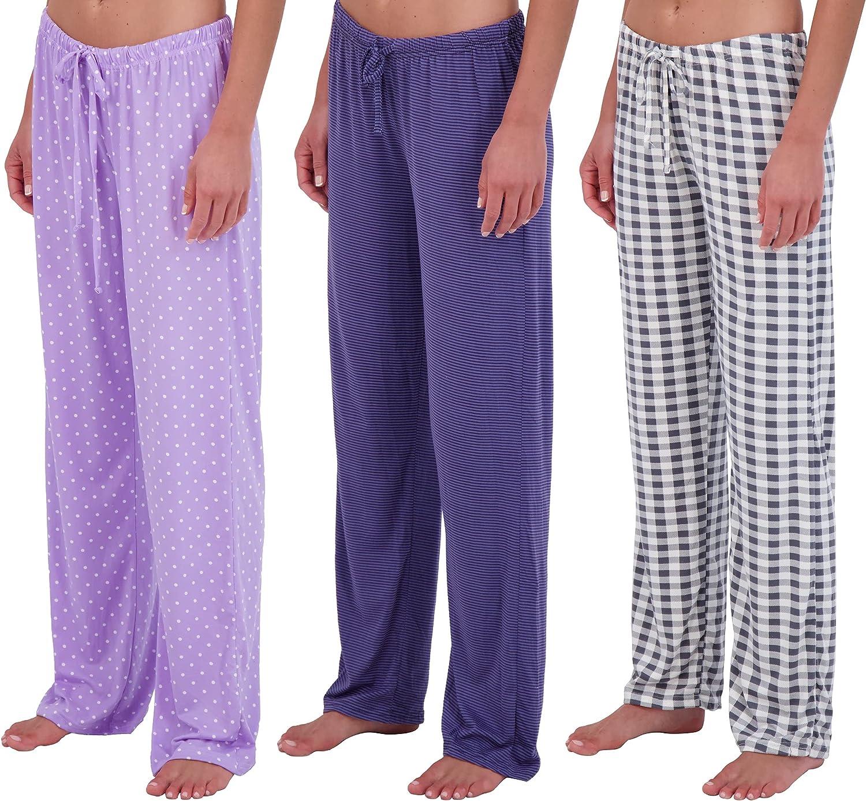 Real Essentials 3 Pack: Women's Ultra-Soft Fleece Comfy Stretch Pajama Lounge Pants & Shorts Elegant Sleepwear
