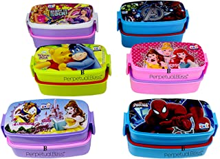 Laxmi Collection Perpetual Bliss Fancy Disney Theme Double Layer Lunch Box for Kids (17x9x9 cm) -Pack of 12 Pieces