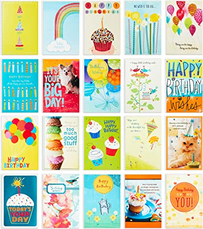 Hallmark Birthday Cards Assortment, 20 Cards with Envelopes