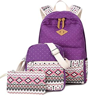 Goldwheat Canvas School Backpack Casual Laptop Bag Shoulder Bag for Teen Girls Boys