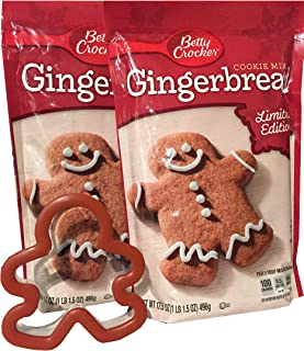 Betty Crocker Gingerbread Cookie Mix 17.5 Oz (Pack of 2) and Gingerbread Man (Kid-Friendly) Cookie Cutter Bundle