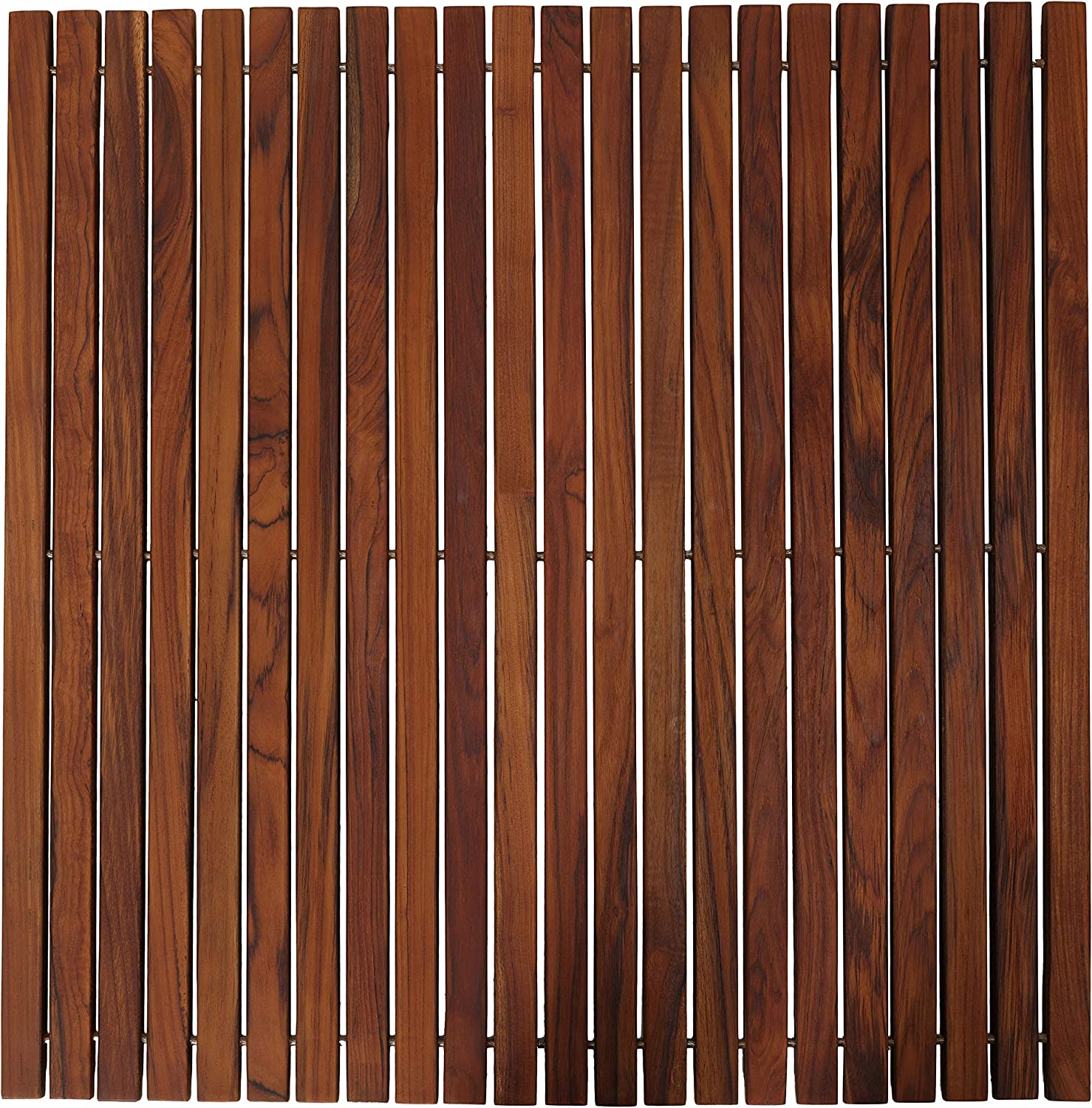 Bare Decor Fuji String Spa Shower Mat in Solid Teak Wood Oiled Finish. XL Square 30  x 30