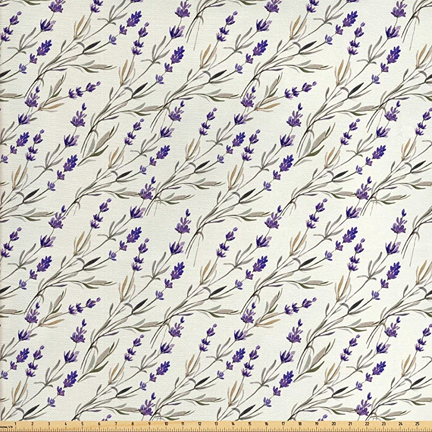 Lunarable Purple Fabric by The Yard, Lavender Paint Style Pattern French Fragrance Organic Herb Theme Country Cottage, Decorative Fabric for Upholstery and Home Accents, 2 Yards, Violet Beige