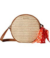 Straw Canteen Crossbody with Bow Scarf