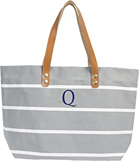 Cathy's Concepts Personalized Striped Tote with Leather Handles, Grey, Letter Q