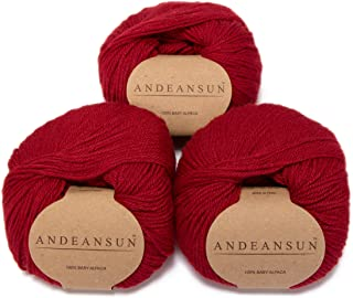 100% Baby Alpaca Yarn (Weight #3) DK - Set of 3 - AndeanSun - Luxuriously Soft for Knitting, Crocheting - Great for Baby Garments, Scarves, Hats, and Craft Projects - (Red)