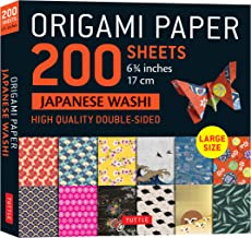 """Origami Paper 200 sheet Japanese Washi Patterns 6 3/4"""" 17 cm: High-Quality Double Sided Origami Sheets With 12 Different P..."""