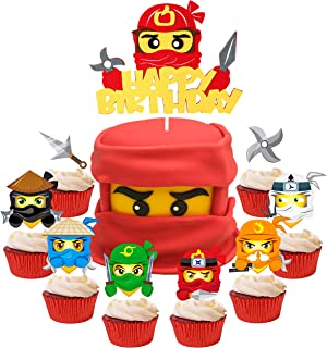 ANGOLIO 49Pcs Ninja Cake Toppers, Ninja Themed Party Cake Decorations, Happy Birthday Felt Cake Topper and Cardstock Ninja...