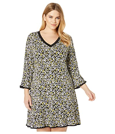MICHAEL Michael Kors Plus Size Flutter Multi Flounce Dress (Black/Golden Yellow) Women