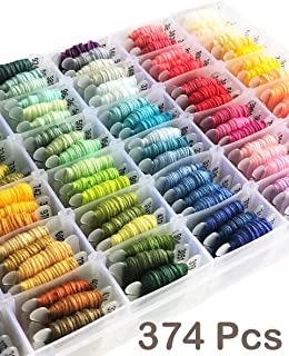Embroidery Floss Kit-DMC Color-100 Embroidery Thread Organizer Storage Box, Friendship Bracelet String,Embroidery string for Bracelets, Cross Stitch Thread Kits,Embroidery Yarn Set Tools Beads 374 PCS