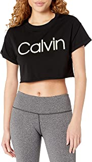 CALVIN KLEIN Performance Women's Calvin Logo Short Sleeve Rolled Cuff Crop Tee
