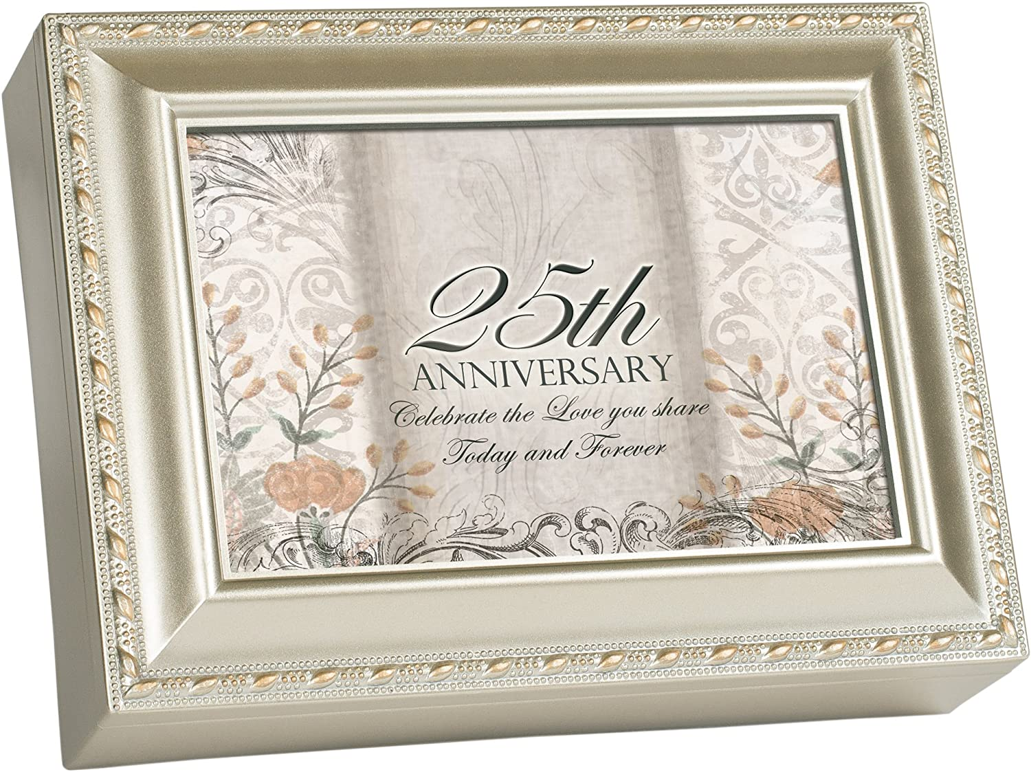 Cottage Garden Music Box - 25Th Anniversary Plays Unchained Melody With Champaign Silver Finish