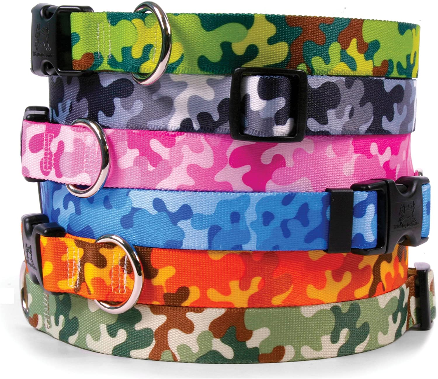 Camouflage Dog Collar  with TagALong ID Tag System  Camo bluee  Medium 14 to 20 inch Length x 1 inch Wide
