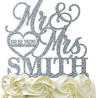 Personalized Wedding Cake Topper Wedding Cake Decoration Elegant Customized Mr Mrs Last Name Date With Heart Glitter Acrylic