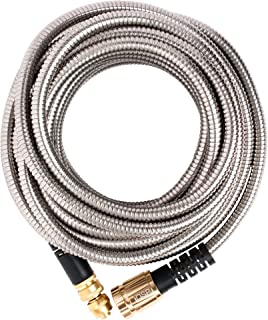 Quality Source Products 50' Metal Garden Hose by QSP, Stainless Steel with Brass Sprayer