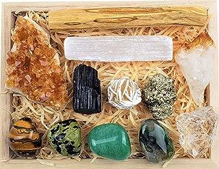 Premium Abundance and Prosperity Crystal Gift in Wooden Box - Black Tourmaline, Palo Santo, Citrine Crystal, Selenite Stick, Pyrite, Raw Quartz Crystal, Desert Rose, Tiger Eye, Moss Agate, Nephrite