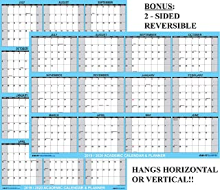 24x36 SwiftGlimpse 2019-2020 Academic Wall Calendar Erasable Large Jumbo Oversized Wet & Dry Erase Laminated 12 Month Planner, 2 Sided Vertical/Horizontal Reversible, June to July - Classic Blue